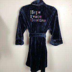 Kate Spade Hope Peace Cookies navy robe XS/S